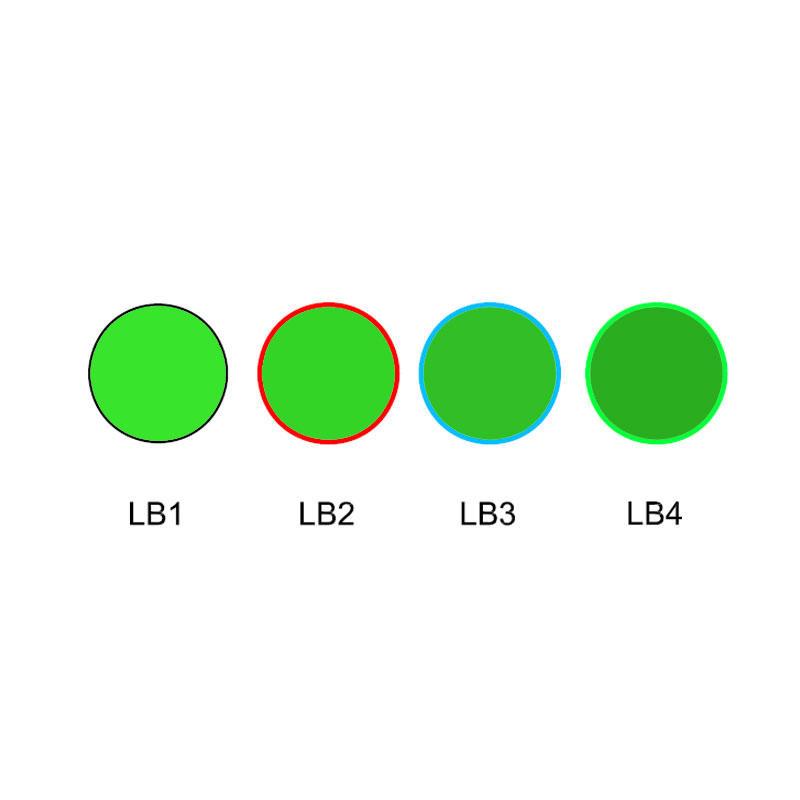 Green color glass selective absorption type optical filter LB1 LB2 LB3 LB4
